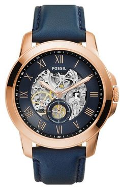 Fossil Men's Automatic Grant Navy Leather Strap Watch - Watches - Jewelry & Watches - Macy's - mens gold watches on sale, cheap mens watches for sale, mens all black watches Fossil Watches For Men, Cool Watches, Wrist Watches, Men's Watches, Casual Watches, Watches Online, Fashion Watches, Skeleton Watches, Luxury Sunglasses