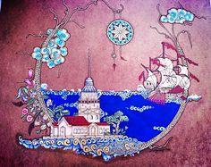 Kız kulesi yakma Tile Art, Mosaic Art, Beach Illustration, Medieval Paintings, Persian Motifs, Islamic Patterns, Turkish Art, Arabic Art, Letter Art