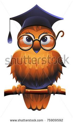 owl with glasses and cap, sitting on a stack of books. But I want it more realistic and less cartoonish