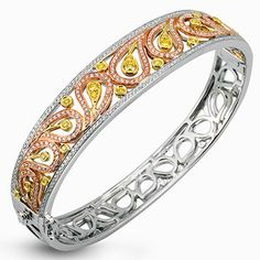 "Simon G. 18K White Gold ""Paisley"" Diamond Bangle Bracelet with Yellow & White Diamonds Weighing 1.63 Carats from the Simon G. Paisley Collection. Style MB1426-B"
