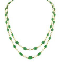 Jpearls Emerald Gold Necklace | 2 Strands Gold Chain with Emeralds and Pearls