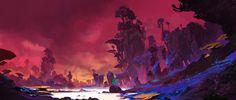 紫色湿地, YU YIMING on ArtStation at https://www.artstation.com/artwork/RqgQO
