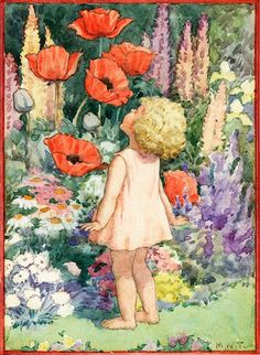 Small girl smelling large red poppies - artwork by Margaret Tarrant