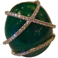 Preowned Emerald Cabochon Diamond Gold Dome Ring ($13,500) ❤ liked on Polyvore featuring jewelry, rings, green, gold rings, 18k gold ring, pave diamond ring, green emerald ring and yellow gold rings
