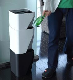 Stacked recycling bins for small spaces