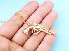 Gun Gold Silver Modern Necklace Gun Magnum by giftjewelryshop