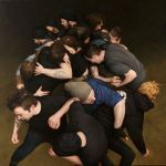 Hyper realistic paintings of mosh-pits. Human and animal. Let's open this pit up.