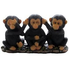 See Hear Speak No Evil Monkeys Safari Chimpanzee Ape Figurine Desktop Statue