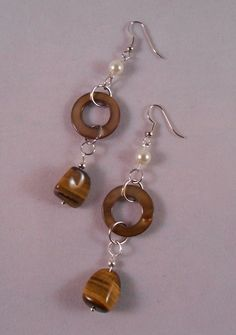 Glass Bead and Tiger's Eye Drop Earrings