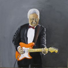 Gitarist van The Red Strats, olieverf op doek, door John Dunk