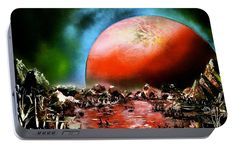 The Other Land Portable Battery Charger Printed with Fine Art spray painting image The Other Land by Nandor Molnar (When you visit the Shop, change the orientation, background color and image size as you wish)
