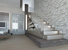 Více na www. Staircase Handrail, Modern Staircase, Staircase Design, Interior Stairs, Interior Design Living Room, Floor Design, House Design, Design Creation, Contemporary Family Rooms