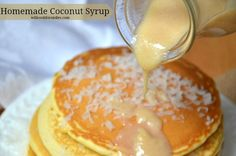 Homemade Coconut Syrup Recipes Cuisine : Recipe Yields : Prep time : & Keywords : , Ingredients cup sweetened condensed milk 1 cup cream of coconut 1 cup coconut flakes Instructions Preheat a pan on medium heat, dry, no oil or grease of any& Breakfast Recipes, Dessert Recipes, Desserts, Dessert Sauces, Breakfast Pancakes, Coconut Syrup, Coconut Flakes, Coconut Sauce, Homemade Syrup