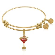 Expandable Bangle in Yellow Tone Brass with Enamel Umbrella Drink Charm Symbol