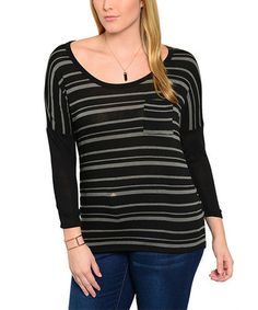 $19.99 Another great find on #zulily! Black & Charcoal Stripe Scoop Neck Top - Plus #zulilyfinds