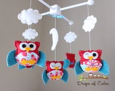 """Baby Crib Mobile - Baby Mobile - Nursery Owl Mobile - Crib Mobile """"Owls in the Clouds""""(You can pick your colors & Fabric). $90.00, via Etsy."""