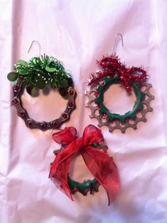 Three adorable Christmas ornaments made from old bike parts. The set of three ornaments can be yours for $20. Proceeds from the sale of these items are being donated to The Leukemia & Lymphoma Society.  Repurposed bicycle, repurposed bike, recycled,