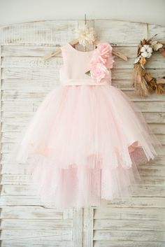 Princessly.com-K1003501-Hi-low Pink Dot Tulle Wedding Flower Girl Dress 0d06e8295e