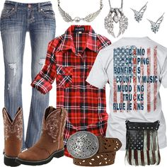 America Plaid Flannel Shirt Angel Wings Jewelry Outfit - Real Country Ladies