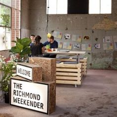 Melbourne design studios Right Angle and Foolscap have created a temporary canteen, market and cinema in a former piano factory that until recently was the home of Australian television broadcaster Channel 9. [The Richmond Weekender by Right Angle and Foolscap]