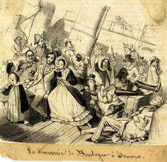 Dessin  représentant des passagers à bord  d'un 'paquebot de la Manche' lors d' une traversée  houleuse.