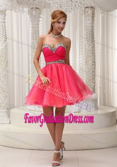 Flirty Leopard and Coral Red Graduation Dresses For Grade 8 in Mini-length