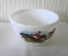 Pyrex JAJ Tally Ho Hunting Scene Mixing bowl vintage retro Made in England by DutchTrader on Etsy
