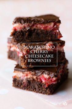 Maraschino Cherry Cheesecake Brownies