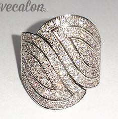 Vecalon Fashion Pave set 140pcs AAAAA Zircon Cz Engagement Wedding Band ring for Women 10KT White Gold Filled Finger ring
