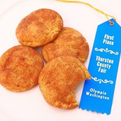 """Orig. pinner wrote, """"Blue Ribbon Snickerdoodles - The cookies that earned me the blue ribbon at my local fair in the cookie category!"""""""