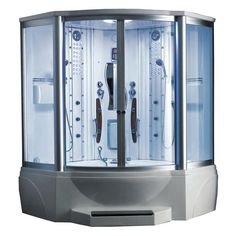 Ariel 63 in. x 63 in. x 89 in. Steam Shower Enclosure Kit with Jacuzzi in White
