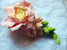 Hair clip rose, barrette cold porcelain, polymer clay barrette, barrette with flower, rose hair red rose