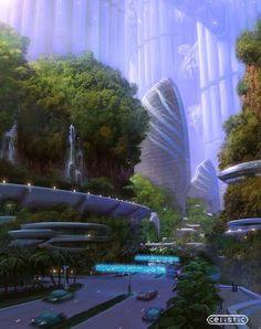 Area Four, educational facilities, March City. Celisticar, Future City, futuristic architecture, future building, futuristic city