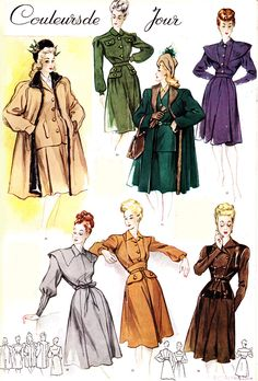 MODES ET TRAVAUX 1945. // Pinning for the green-and-tan/beige color scheme.