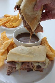 Store bought deli roast beef, cheese, onions, and homemade au jus for dipping. Roast Beef Deli Meat, Roast Beef Au Jus, Hot Roast Beef Sandwiches, Beef Recipes, Cooking Recipes, Family Recipes, Recipies, Cheese Steak Sandwich Recipe, Quick Family Dinners