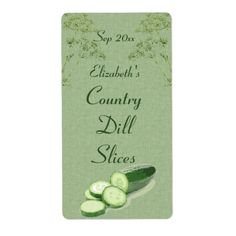 Dill and Sliced Cucumber on Pale Green Canvas Labels