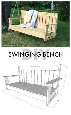 building Porch Swing set Plans for kids, Outdoor Furniture Plans and Projects Easy Woodworking Projects, Woodworking Bench, Diy Wood Projects, Home Projects, Woodworking Classes, Youtube Woodworking, Woodworking Machinery, Woodworking Videos, Woodworking Equipment