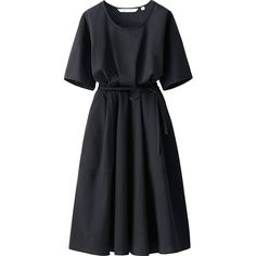 UNIQLO Women Lemaire Seersucker Short Sleeve Dress ($60) ❤ liked on Polyvore featuring dresses, textured dress, loose dress, tie dress, short sleeve dress and uniqlo