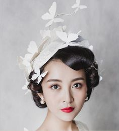 08c2177184448 In Stock White Butterfly Crowns Tiaras With Clip 2016 Hot Sale Bridal Hats  Fascinator Ladies Hats Feathers Women Wedding Hats Accessories British  Wedding ...