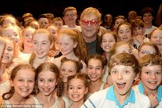 Spot the sunnies: Elton (almost) went incognito as he posed in a sea of beaming children . School Of Rock Broadway, Billy Elliot Musical, Victoria Palace Theatre, David Furnish, First Kiss, Tom Holland, Sunnies, Musicals, Husband