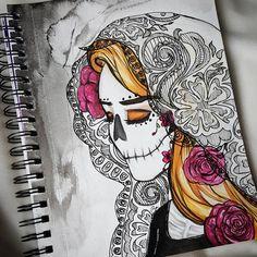 Contenta Diá De Los Muertos! By Riza McQuillan (LovelyLaceyLattes) #diadelosmuertos #sugarskull