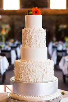 White, Silver & Ruffles Wedding Cake for a chic design | Cake By: Chef Ned Archibald, @keystonemtn  | Photo By: IN Photography @michele | www.keystoneweddings.com | #weddingcake