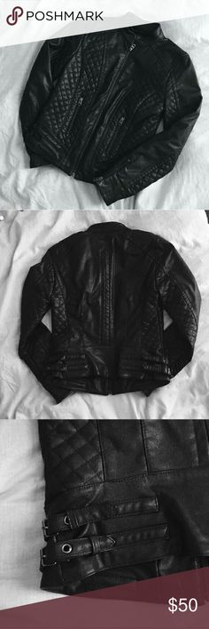 Armani Exchange moto jacket Faux leather moto jacket. Great condition. No stains or tears. Gently used. Armani Exchange Jackets & Coats