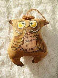 Ароматизированные куклы ручной работы. Ярмарка Мастеров - ручная работа. Купить Кофейные позитивчики-совы и коты. Handmade. Коричневый, юмор