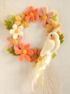 【こ*みわ】Bird Wreath ♥ Felt Wool Doll