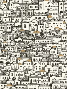 Mediterranean building print wallpaper  - Cole & Son, available at Home Accessories interior design service through Cookes Furniture - www.cookesfurniture.co.uk