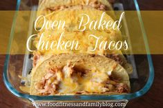 Oven Baked Chicken Tacos. My Opinion: Really good. I did stray from the original recipe though. I already had my chicken cooked and shredded. I mixed it with the spices, 1/2 cup of chicken broth & 1/2 jar of salsa (instead of beans). Turned out great. Will definitely make again!