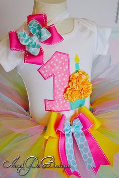 Baby Girls First Birthday Outfit - Number 1 Applique with Small Cupcake Onesie, Tutu & Matching Headband - Taffy Pink, Aqua and Yellow via Etsy