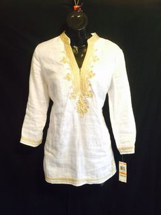NEW Charter Club White Linen Gold Embroidery Tunic Small NWT $79 #CharterClub #Tunic #Casual