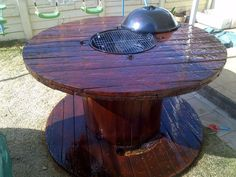 BBQ/Braai Table Wooden Cable Reel, Wooden Cable Spools, Wooden Spool Tables, Wood Spool, Cable Spool Tables, Pallet Furniture, Outdoor Furniture, Outdoor Decor, Teds Woodworking